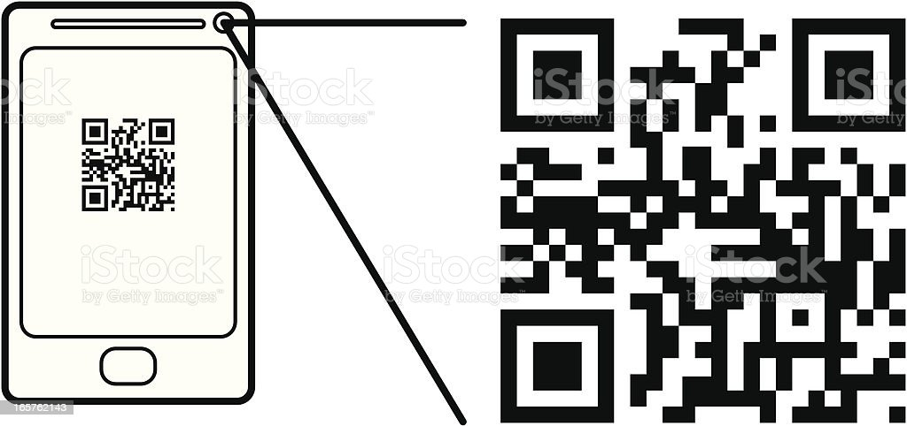 Smart Phone Scanning a QR Code royalty-free stock vector art