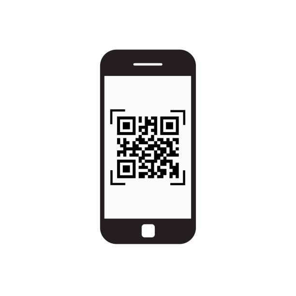 smartphone scannen qr-code symbol barcode-scan mit telefon - fotohandy stock-grafiken, -clipart, -cartoons und -symbole