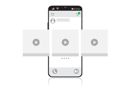 Smart phone screen on video player icon