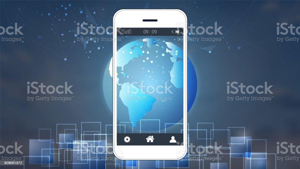 Smartphonebildschirm Zeigt Digitale Schaltungen Und Welt Karte ...