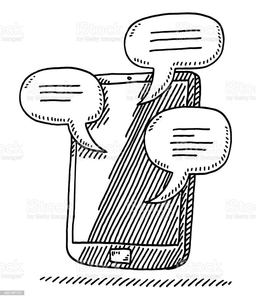 Smart Phone Speech Bubbles Communication Drawing vector art illustration