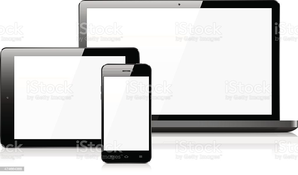 Smart phone, tablet, and laptop vector art illustration