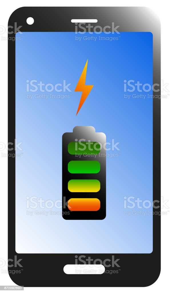 smart phone, tablet battery charging icon vector art illustration