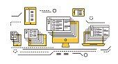 Responsive web design and big data.  flat thin line design elements. vector illustration