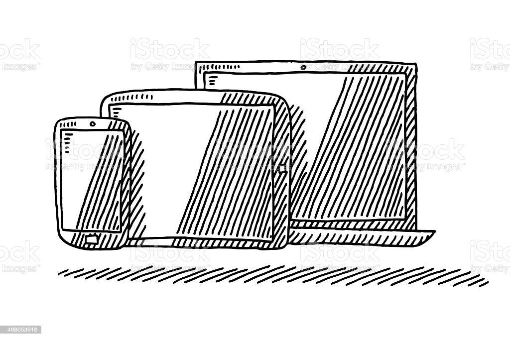 t l phone intelligent une tablette pc et ordinateur portable dessin stock vecteur libres de. Black Bedroom Furniture Sets. Home Design Ideas