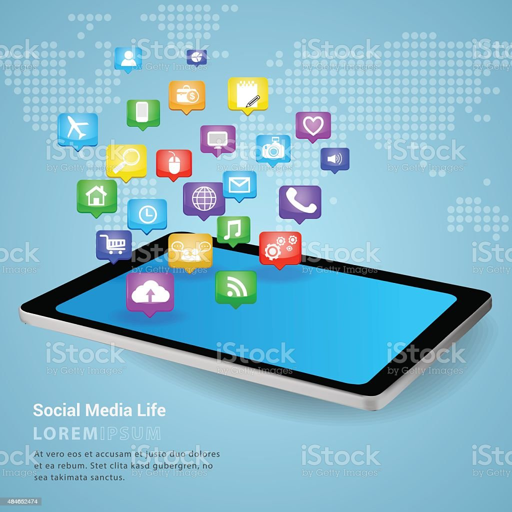 Smart phone tablet social media. vector art illustration