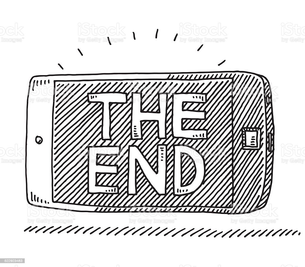 smart phone the end movie screen drawing stock vector art more