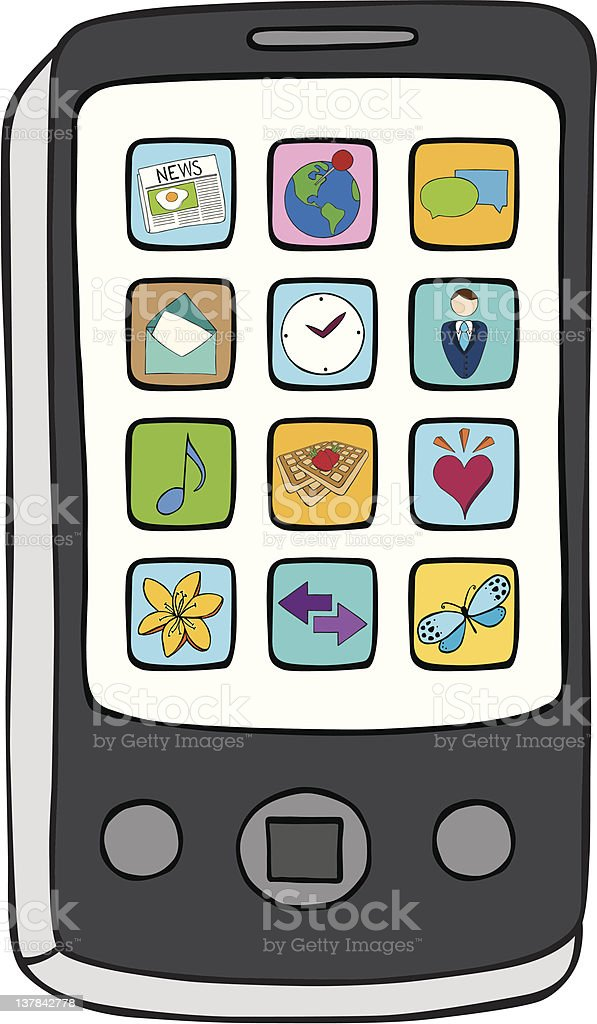 Smart Phone with applications vector art illustration