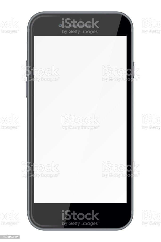 Smart phone with blank screen isolated on white background. vector art illustration