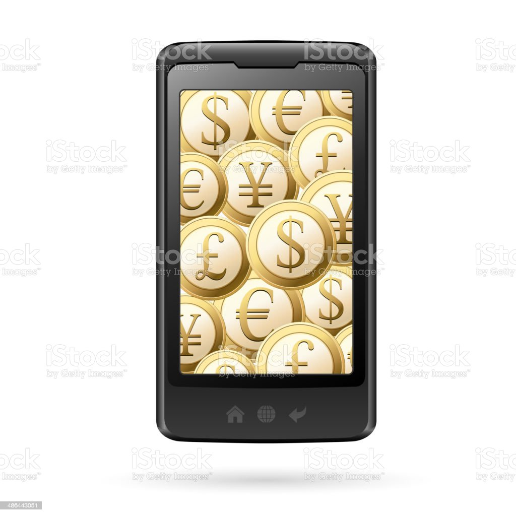 Smart phone with coins for electronic payment royalty-free stock vector art