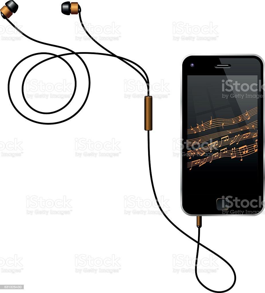 Smart Phone With Earphones vector art illustration