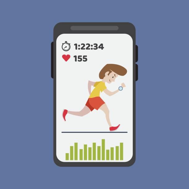 smartphone mit fitness-anwendung für die gesundheit - langstreckenlauf stock-grafiken, -clipart, -cartoons und -symbole