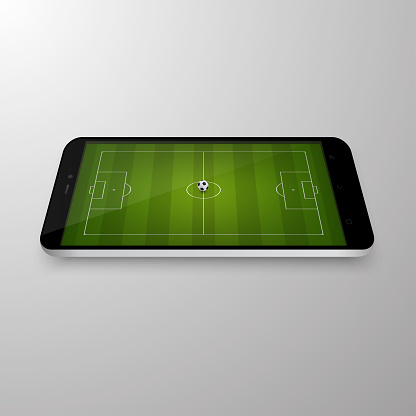 Smart phone with football field. Betting online