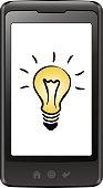 istock Smart phone with light bulb 518307703