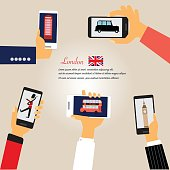 Smart phone with London city  capital of England Great Britain  vector illustration EPS10.