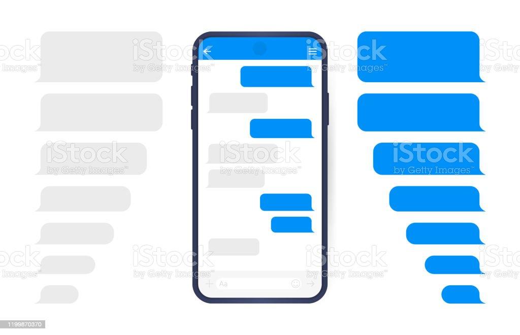 Smart Phone met Messenger chat scherm. SMS sjabloon bubbels voor het opstellen van dialogen. Moderne vector illustratie platte stijl - Royalty-free Applicatie vectorkunst