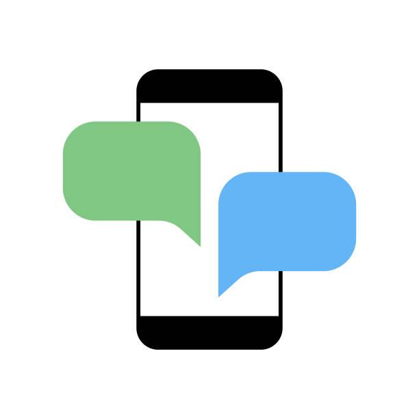 ilustrações de stock, clip art, desenhos animados e ícones de smart phone with speech bubbles - a caminho
