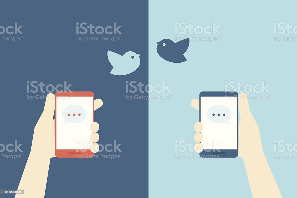 smart phones and birds royalty-free stock vector art