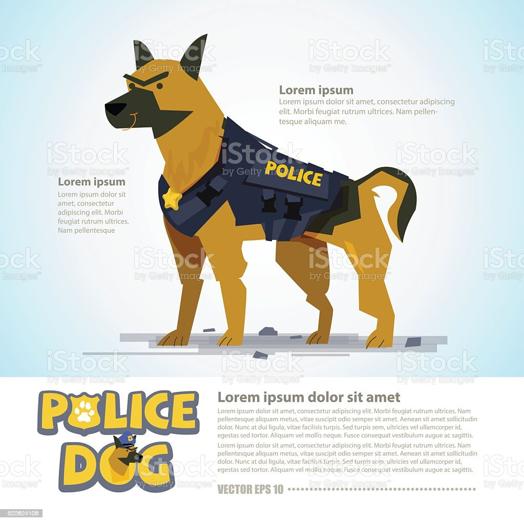smart police dog. character design come with typographic  - vector vector art illustration