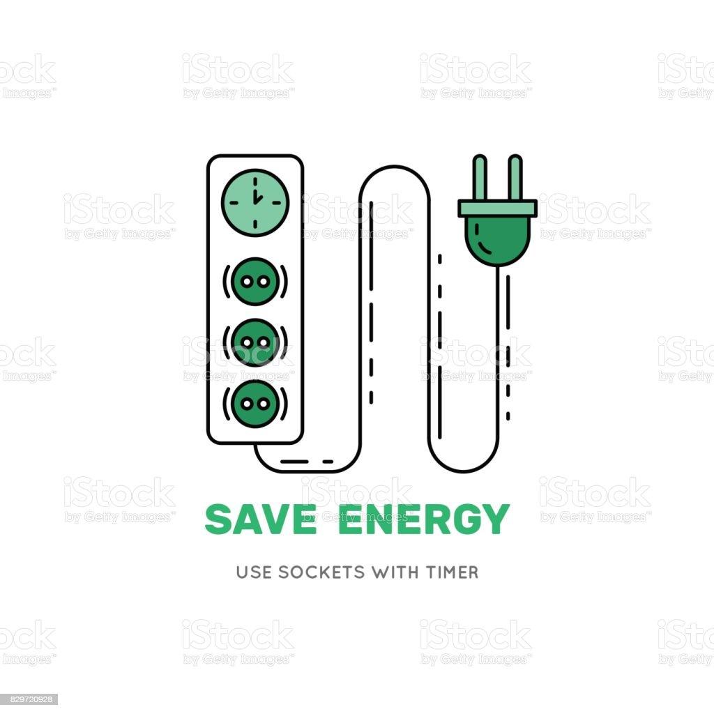 intelligente steckdose mit timer sparen energie stock vektor art und