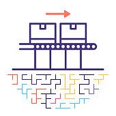 Line vector icon illustration of smart production line with maze like background.