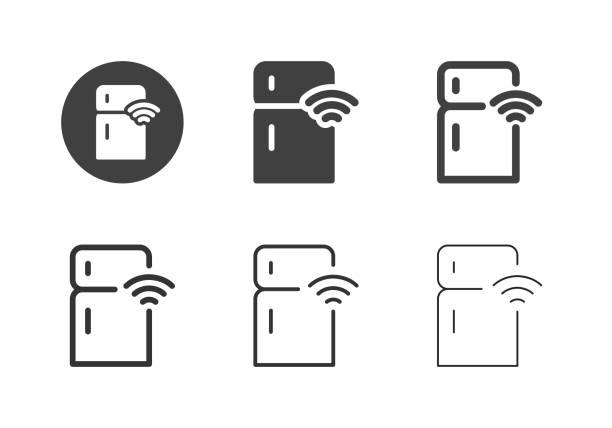 Smart Refrigerator Icons - Multi Series vector art illustration