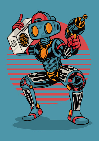 Smart robot cartoon vector Illustrations. Robot dance while carrying the radio in the right hand and a gun in the left hand. Robotic toys collection. Flat vector illustration