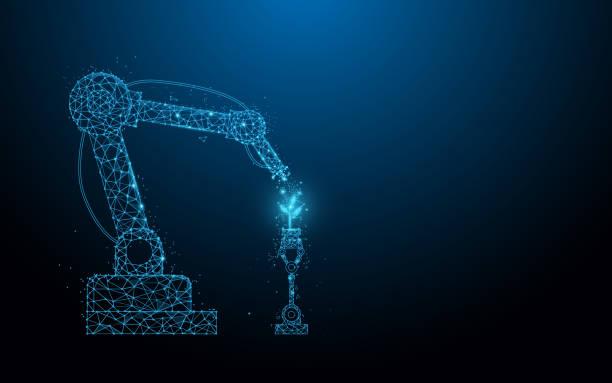 intelligente roboter-bäuertechnik. roboterspray chemikalie. linien, dreiecke und partikeldesign. illustration vektor - elegante kleidung stock-grafiken, -clipart, -cartoons und -symbole