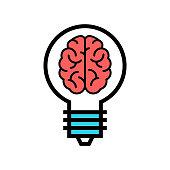 Smart Solution icon. Brain in a Bulb vector. Genial idea illustration.