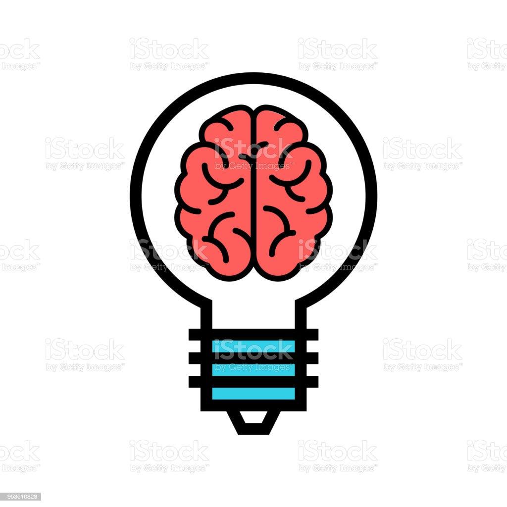 Smart Solution icon. Brain in a Bulb vector. Genial idea illustration. vector art illustration
