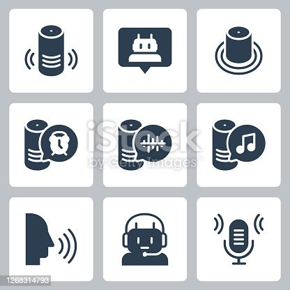Smart Speaker and Virtual Assistant Related Vector Icon Set