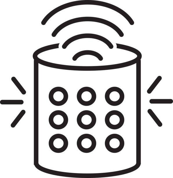 Smart Speaker Flat Simple outline line art design Icon vector art illustration