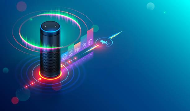 illustrazioni stock, clip art, cartoni animati e icone di tendenza di smart speaker. iot - voce