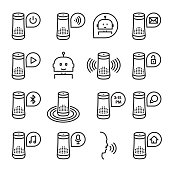 Smart speaker vector icon set isolated from background. Artificial intelligence smart support or assistance. Collection of speakers outline illustrations in black and white colors.