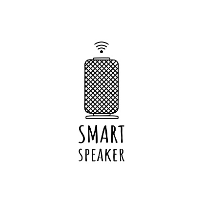 Smart speaker, voice assistant icon isolated on white background. Vector illustration, hand drawing, doodle sign.