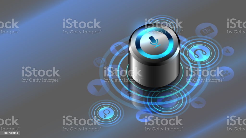Smart speaker. Voice control. The Internet of things vector art illustration