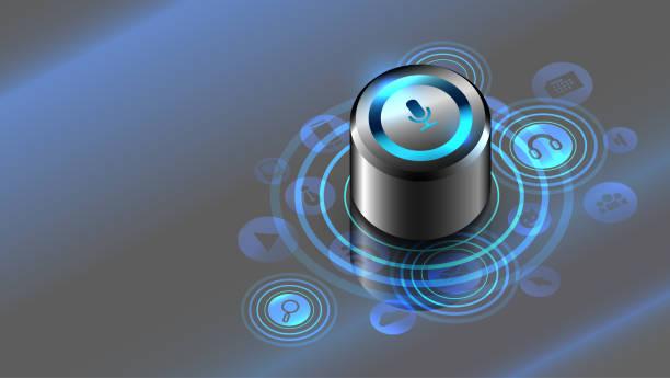 smart lautsprecher. sprachsteuerung. das internet der dinge - assistent stock-grafiken, -clipart, -cartoons und -symbole