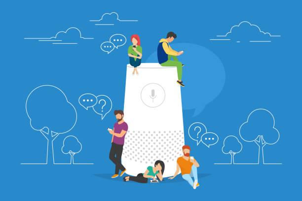 smart lautsprecher mit virtuellen assistenten-vektor-illustration von menschen stehen in der nähe von lautsprecher-symbol - assistent stock-grafiken, -clipart, -cartoons und -symbole