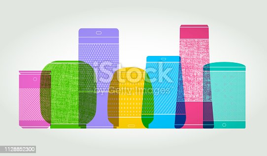 Colourful overlapping silhouettes of Smart Speakers