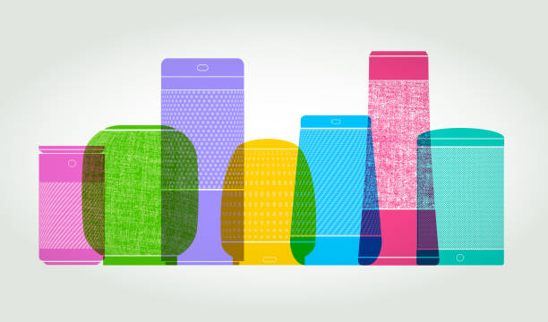 Smart Speakers Colourful overlapping silhouettes of Smart Speakers speech recognition stock illustrations