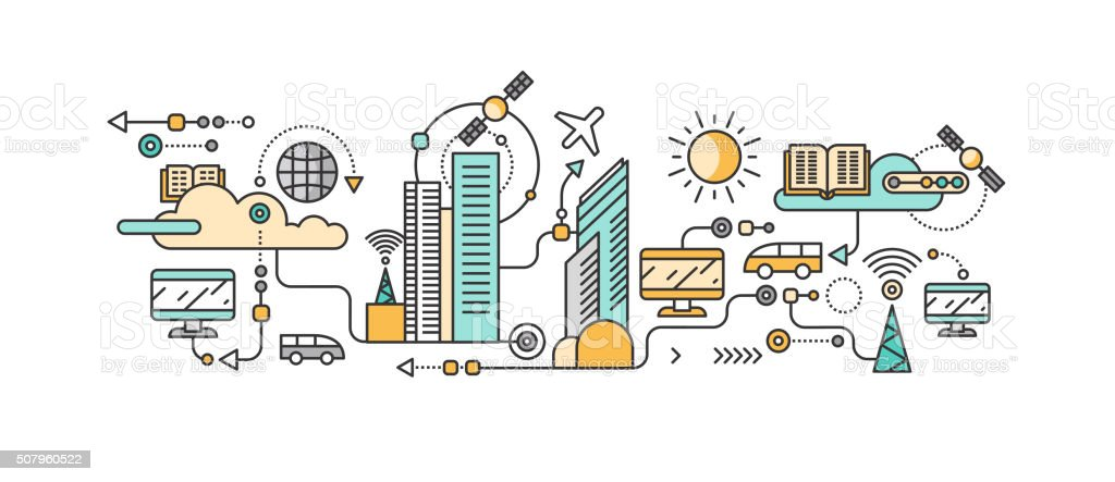 Smart Technology in Infrastructure of the City vector art illustration