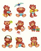 """9 colorful  illustrations describing baby development.  Lovely teddy  sitting on potty, say """"bye"""" to pacifier,  clothe oneself, singing,  painting  a picture, playing with a  toy train, listening to music, answering the phone, reading a book."""