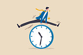 istock Smart time management, success in work strategy on business deadline or working time efficiency concept, smart happy and confidence businessman employee worker jump over time passing clock. 1294568884