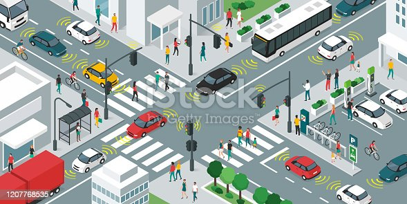 istock Smart transportation and vehicles moving in the city streets 1207768535