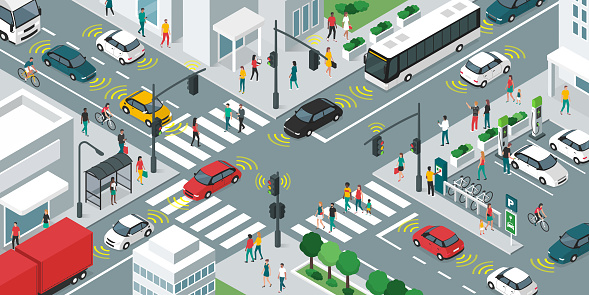 smart transportation stock illustrations