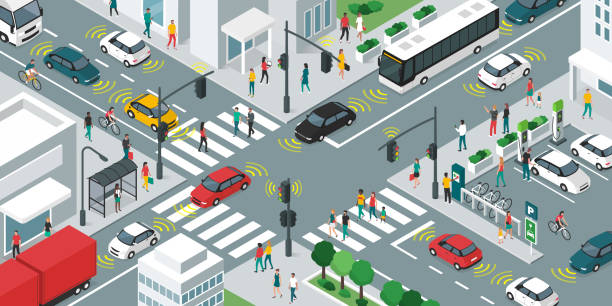 ilustrações de stock, clip art, desenhos animados e ícones de smart transportation and vehicles moving in the city streets - carro na rua