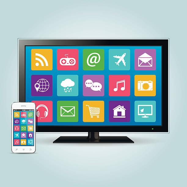 Smart-TV und smartphone mit app-icons – Vektorgrafik