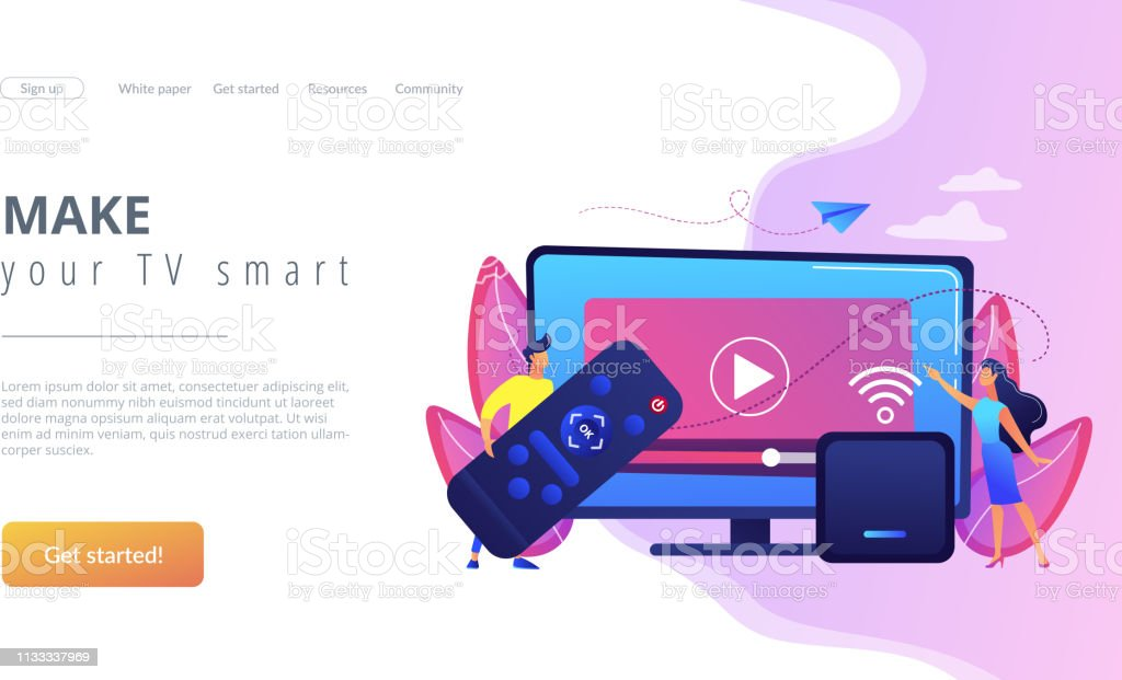 Tiny people watch video with remote control and television multimedia...