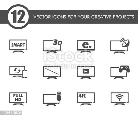 smart tv vector icons for your creative ideas