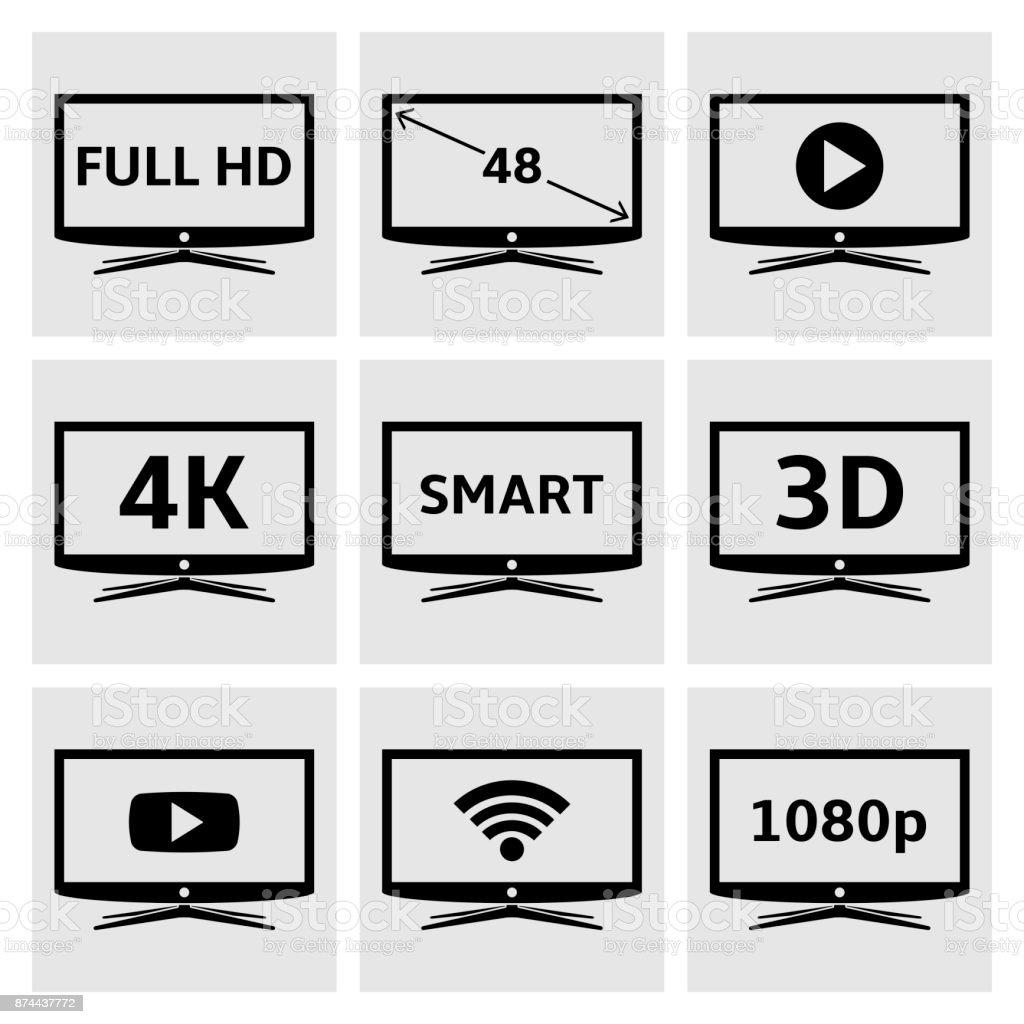Smart TV Icons set – Vektorgrafik